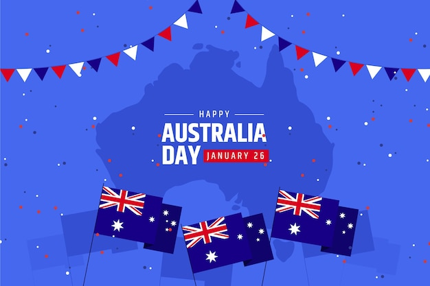 Australia day with map flat design