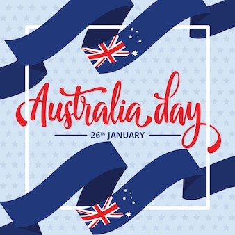 Australia day with ribbon flags