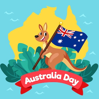 Australia day with smiley kangaroo and flag