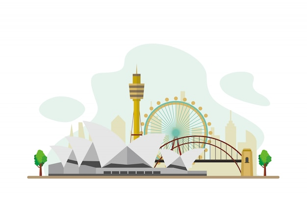 Australia famous landmarks background
