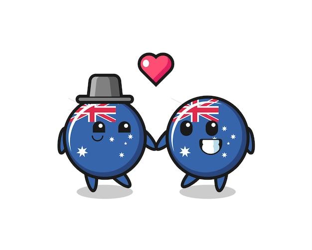 Значок флага австралии мультипликационный персонаж пара с жестом влюбленности, милый стиль дизайна для футболки, стикер, элемент логотипа