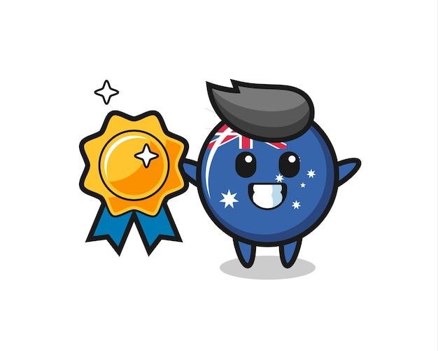황금 배지를 들고 있는 호주 국기 배지 마스코트 그림, 티셔츠, 스티커, 로고 요소를 위한 귀여운 스타일 디자인