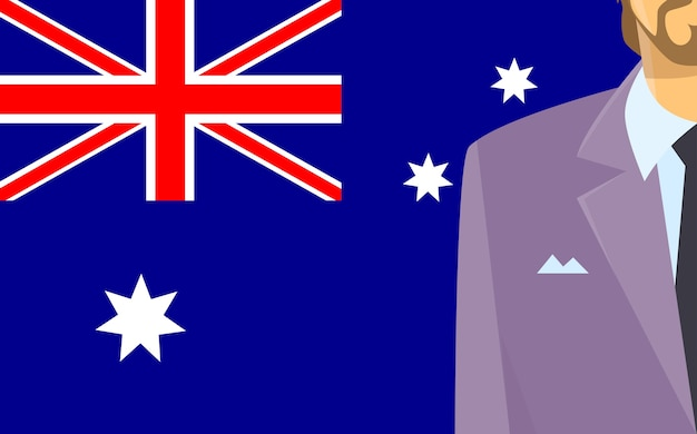 Australia flag businessman suit politic flat