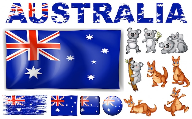 Australia flag in different designs and wild animals illustration