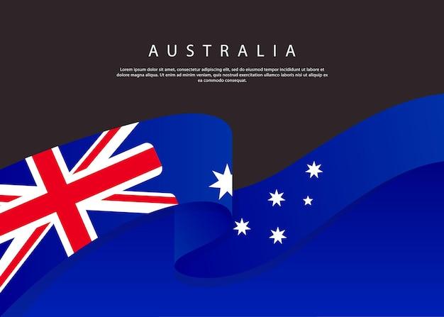 黒い背景の上のオーストラリアの旗流れるイギリスの旗ベクトルイラストテンプレート