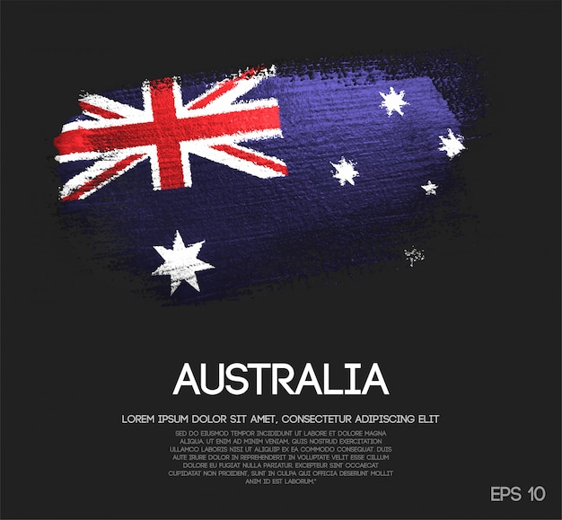 Australia flag made of glitter sparkle brush paint vector