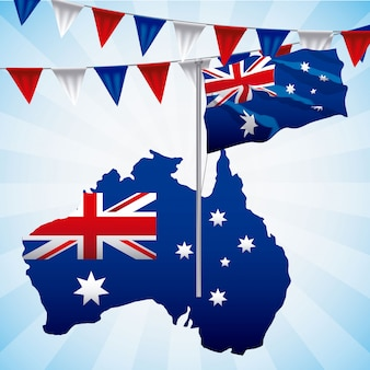 Australia flag waved on blue, with map illustration