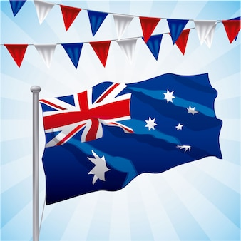 Australia flag waved on blue