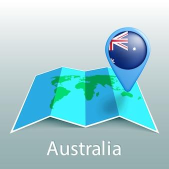 灰色の背景に国の名前とピンでオーストラリアの旗の世界地図