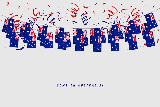 Australia garland flag with confetti on gray background.
