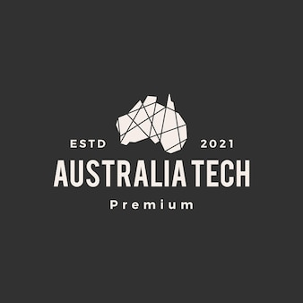 オーストラリアの幾何学的な多角形のハイテクヒップスターのビンテージロゴ