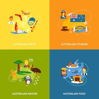 Значки австралии установлены плоские