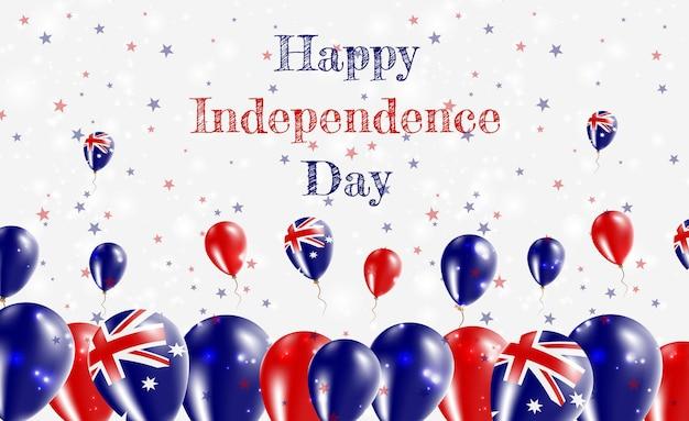 호주 독립 기념일 애국 디자인. 호주 국가 색의 풍선. 행복 한 독립 기념일 벡터 인사말 카드입니다.