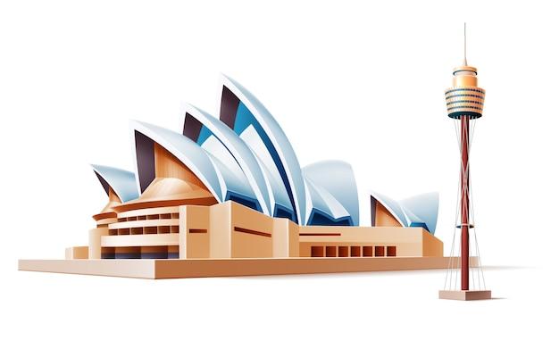 Австралийский ориентир реалистичный сиднейский театр, башня. знаменитые здания
