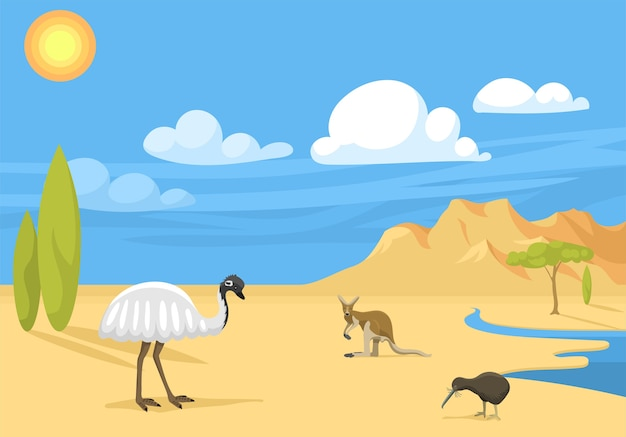 動物漫画イラストのオーストラリアの風景。