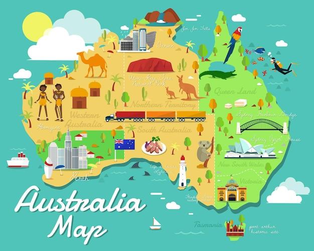 다채로운 랜드마크 일러스트 디자인이 있는 호주 지도