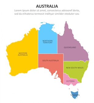 Australia multicolored map with regions.
