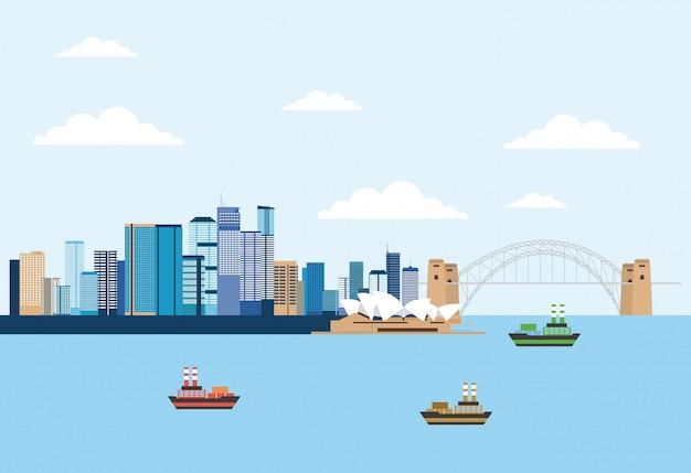 海の近くのオーストラリアのスカイラインのシーン