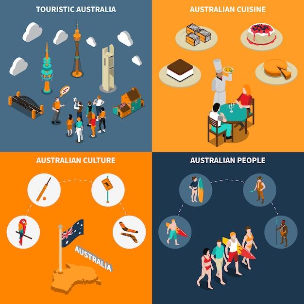 Australia travel 4 isometric icons square