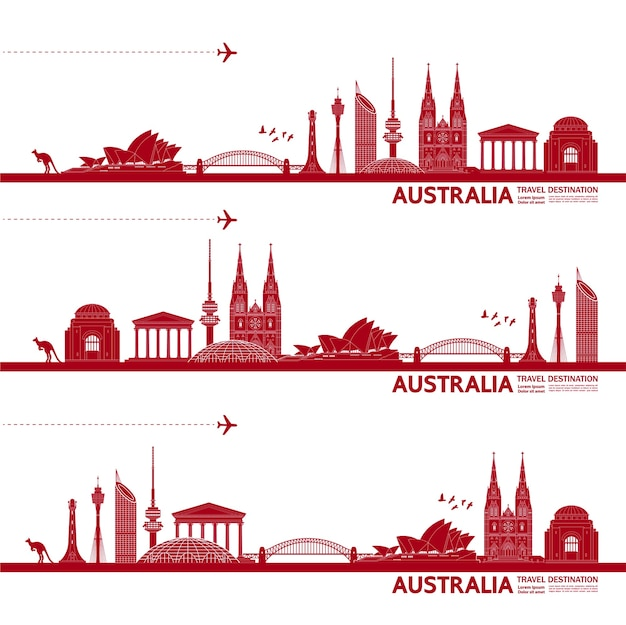 Australia travel destination grand illustration.