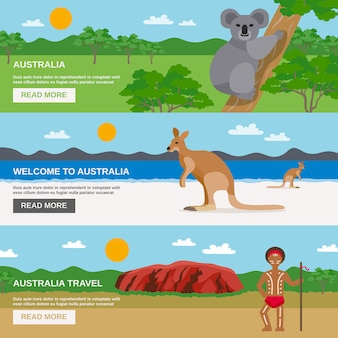 Set di bandiere orizzontali di viaggio australia