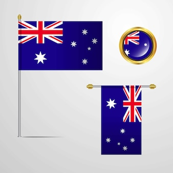 Australia waving flag design with badge vector