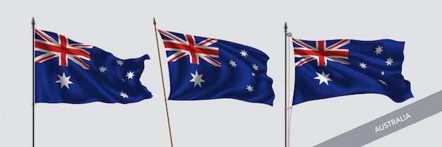 Australia waving flags on flagpole