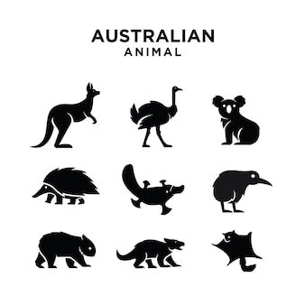 オーストラリアの動物のロゴのアイコンのデザイン