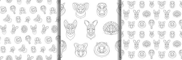 Набор австралийских животных наброски раскраски бесшовные модели