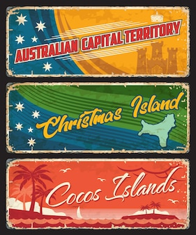 Australian capital territory, christmas and cocos islands territories states plates