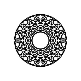 흰색 바탕에 검은색 호주 민속 예술 boho 장식 점이 있는 추상 단색 만다라