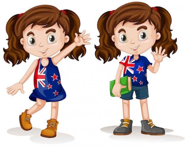 オーストラリアの女の子が手を振って、笑顔