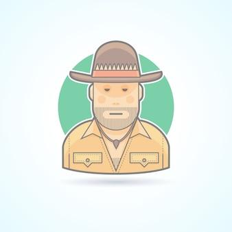 Австралийский охотник, значок бушмена. аватар и иллюстрация человека. цветной очерченный стиль.