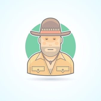Australian hunter, bushman icon. avatar and person illustration.  colored outlined style.