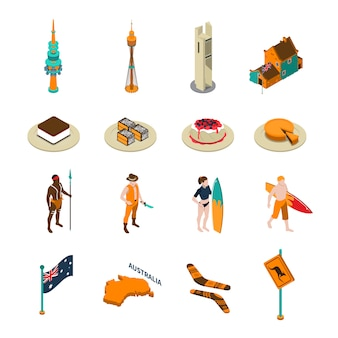 Australian tourists attraction isometric icons set