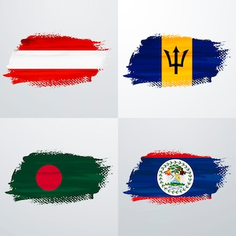 Austria, barbados, bangladesh and belice flags pack