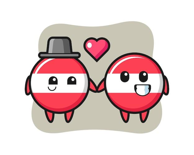 恋に落ちるジェスチャーとオーストリアの旗バッジ漫画のキャラクターのカップル