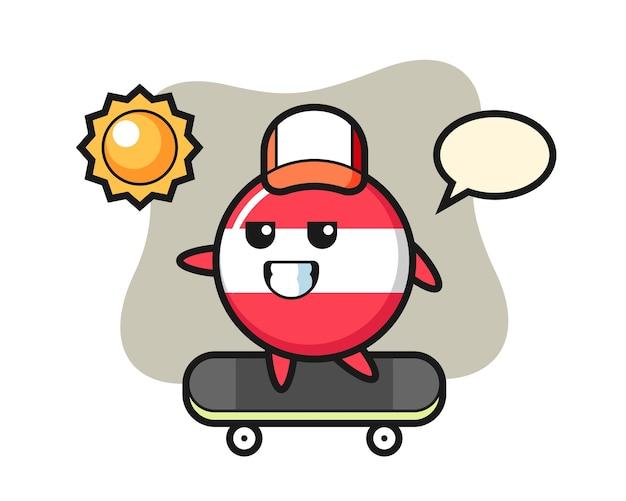 Austria flag badge character illustration ride a skateboard