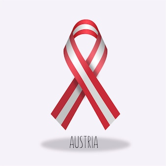 Austria flag ribbon design