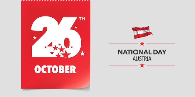 Поздравительная открытка счастливого национального дня австрии, баннер, векторная иллюстрация. австрийский день 26 октября фон с элементами флага в креативном горизонтальном дизайне