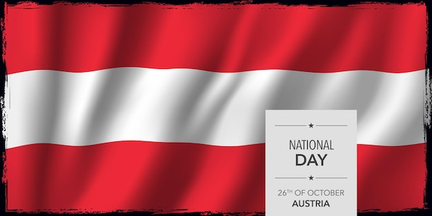 Поздравительная открытка счастливого национального дня австрии, векторная иллюстрация баннера. австрийский мемориальный праздник 26 октября элемент дизайна с бодикопией