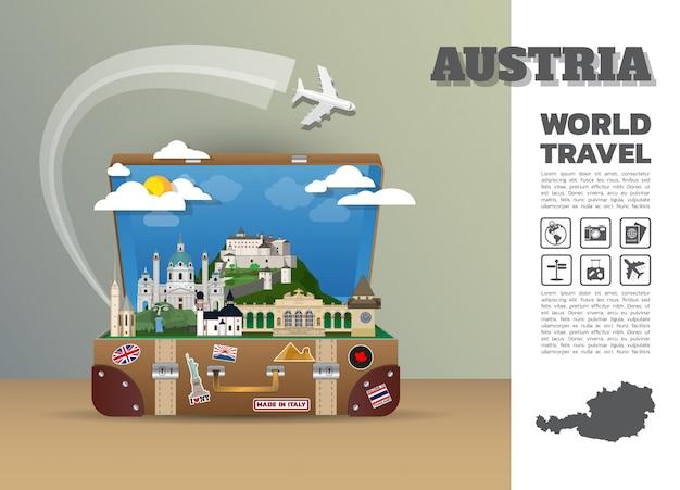 오스트리아 랜드 마크 글로벌 여행 및 여행 인포 그래픽 수하물.