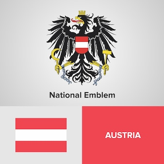 Austria map flag and national emblem