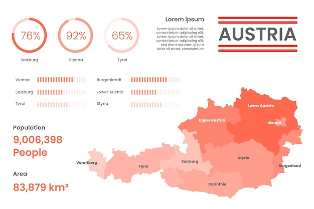 Австрия карта инфографики в плоском дизайне