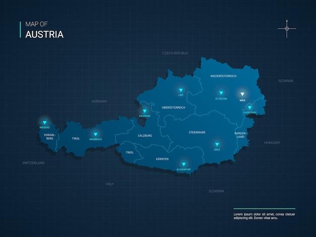 青いネオンライトポイントのオーストリアの地図