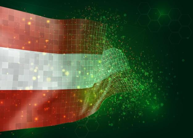 オーストリア、ポリゴンとデータ番号と緑の背景のベクトル3dフラグ