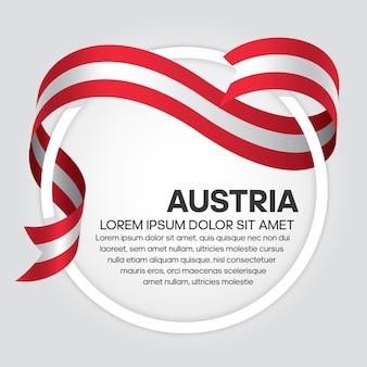 白い背景の上のオーストリアのリボンの旗のベクトル図