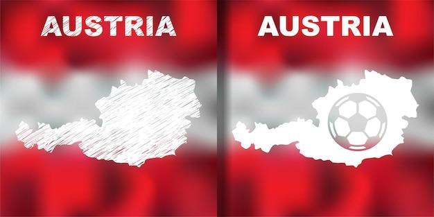 旗とボールが設定されたオーストリアの抽象的な地図