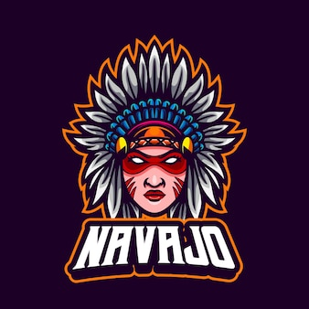 Authentic american native girl mascot cartoon design