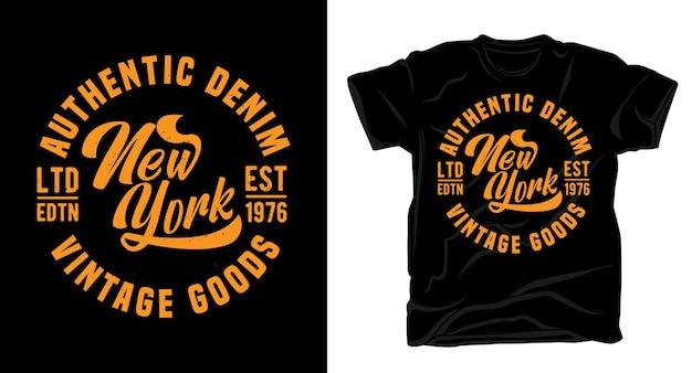 Аутентичная джинсовая типография нью-йоркских винтажных товаров для дизайна футболки